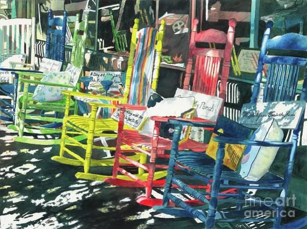Rocking Chairs Painting - Rock On by LeAnne Sowa