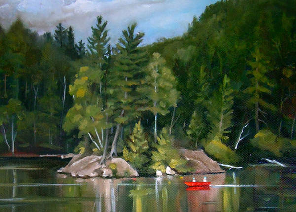 Painting - Rock On Mirror Lake Cards And Mug by Nancy Griswold