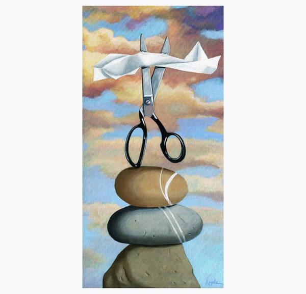 Wall Art - Painting - Rock, Paper, Scissors by Linda Apple