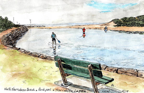 New South Wales Drawing - Rock Pool And Beach by Anne Huth