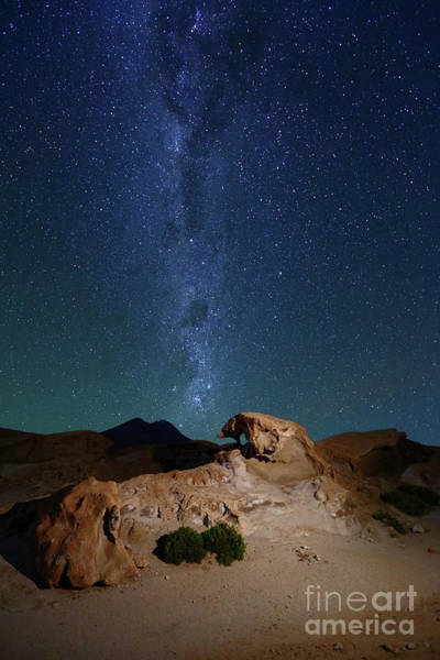 Photograph - Rock Sculptures And The Milky Way In Southwest Bolivia by James Brunker