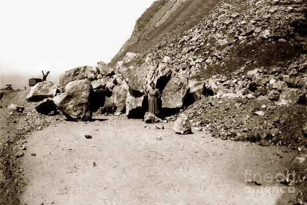Photograph - Rock Slide On Highway One Big Sur, Cal Circa 1930 by California Views Archives Mr Pat Hathaway Archives