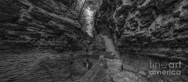 Watkins Glen Photograph - Rock Stairs Bw Pano  by Michael Ver Sprill