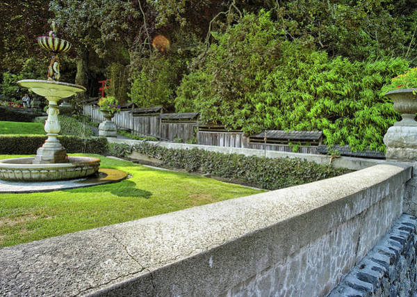 Photograph - Rock Wall And Fountain by Lawrence Christopher