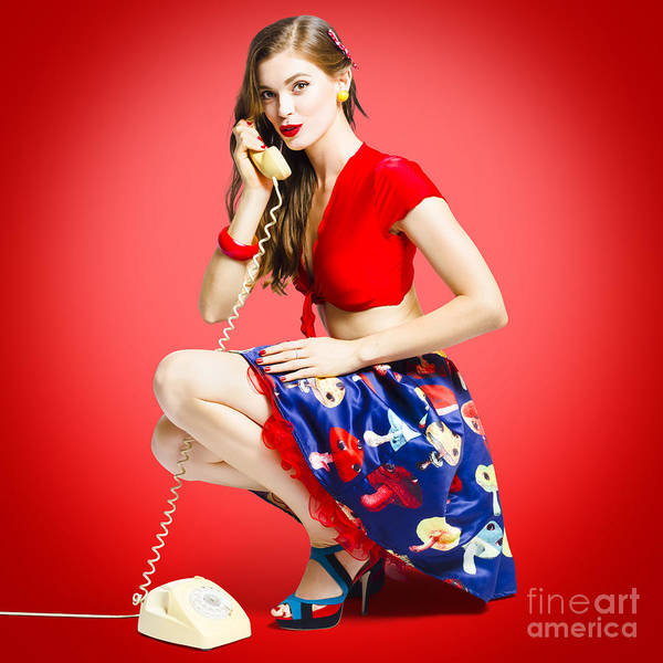 Wall Art - Photograph - Rockabilly Gal Talking The Talk On Old Telephone by Jorgo Photography - Wall Art Gallery