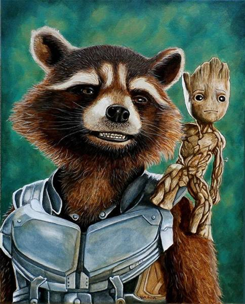 Wall Art - Painting - Rocket And Groot by Al  Molina