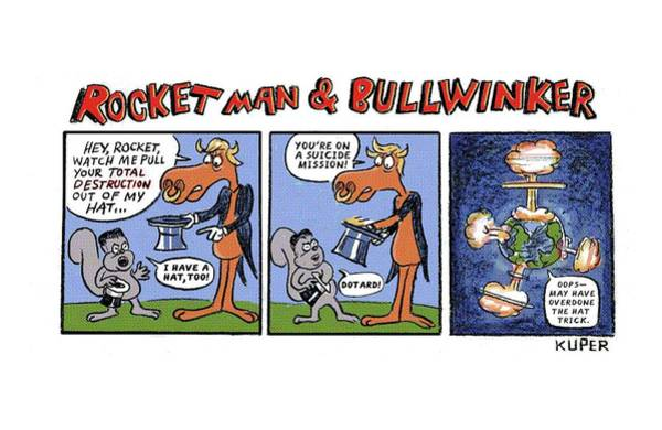 Threat Drawing - Rocket Man And Bullwinker by Peter Kuper