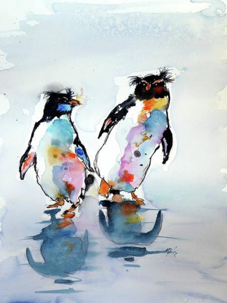 Penguin Painting - Rockhopper Penguin by Kovacs Anna Brigitta