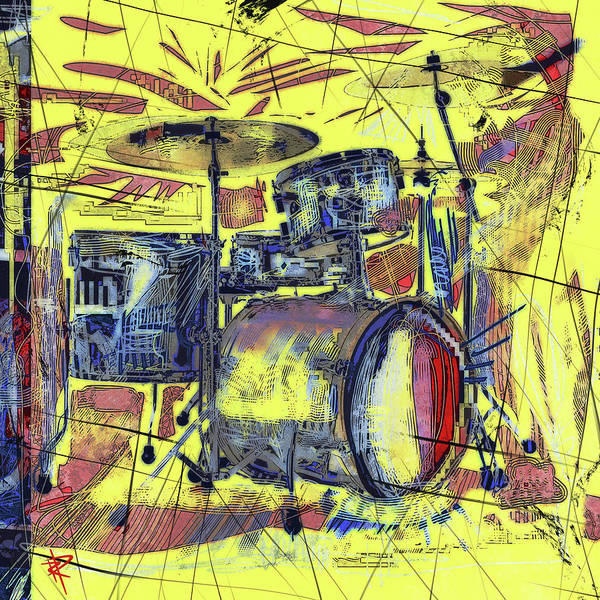 Wall Art - Mixed Media - Rockin Drums by Russell Pierce