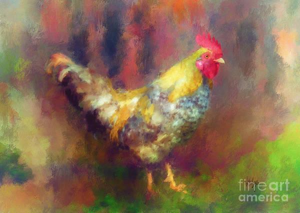 Rooster Digital Art - Rockin' Rooster by Lois Bryan