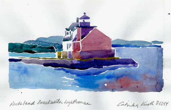 Painting - Rockland  Breakwater Lighthouse Watercolor 2014 Maine Coast by Catinka Knoth
