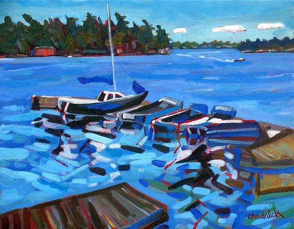 Stratocumulus Painting - Rockport Dock by Phil Chadwick
