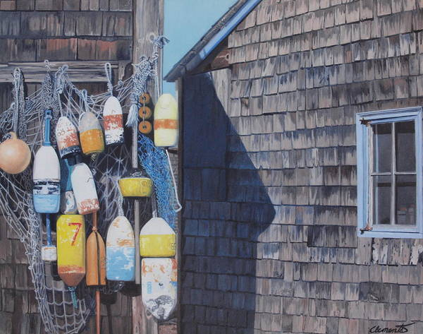 Netting Painting - Rockport Fishing Shack With Lobster-buoys And Nets by Barbara Barber