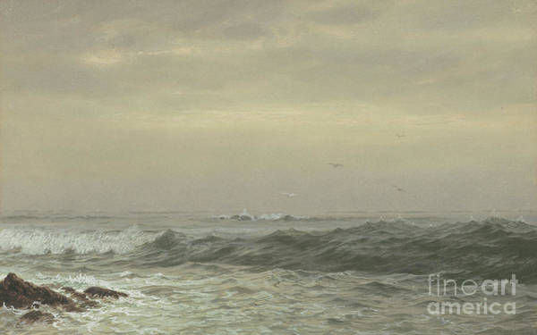 Wave Breaking Painting - Rocks And Breaking Waves by William Trost Richards
