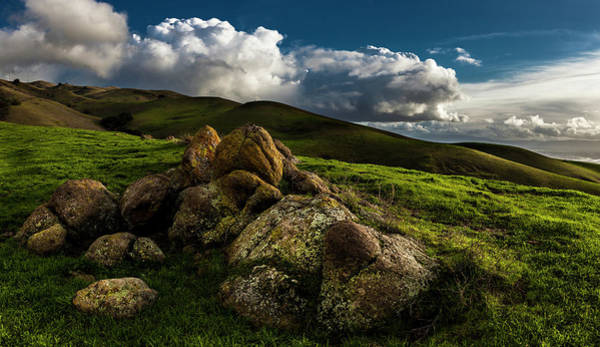 Mission Bay Photograph - Rocks And Storm Clouds On Mission Peak by Fred Rowe