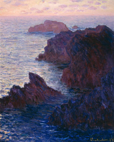 Outcrop Painting - Rocks At Bell Ile by Claude Monet