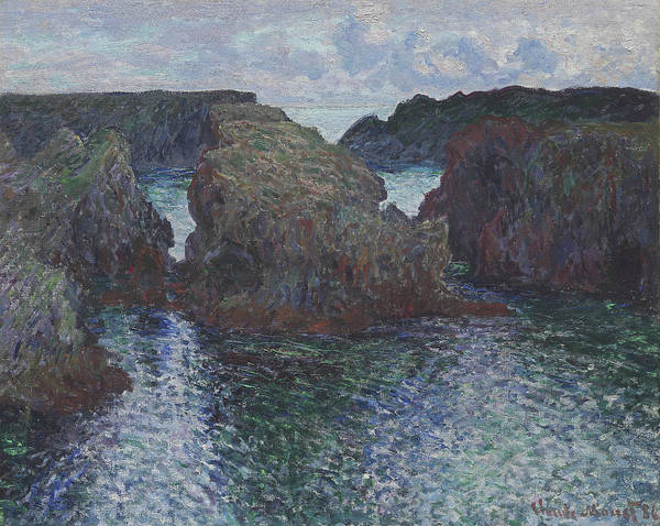 Rocky Coast Painting - Rocks At Port Goulphar, Belle Ile by Claude Monet