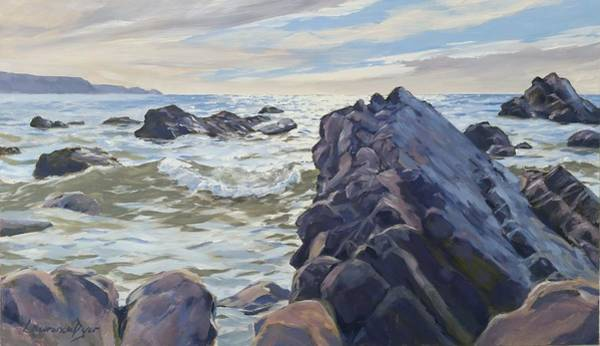 Painting - Rocks At Widemouth Bay, Cornwall by Lawrence Dyer
