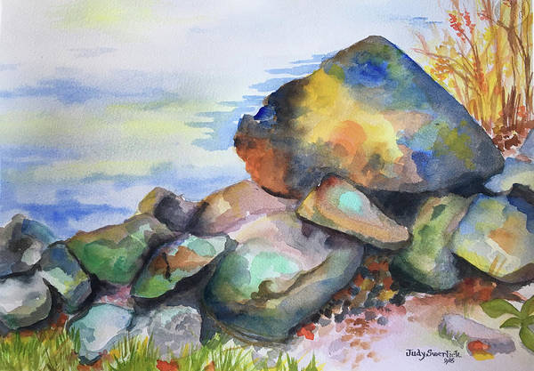 Wall Art - Painting - Rocks By Water's Edge by Judy Swerlick