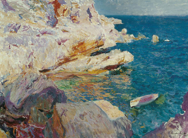 Wall Art - Painting - Rocks Of Javea And The White Boat by Joaquin Sorolla