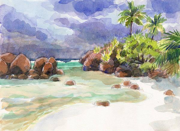 Painting - Rocks Of Motu Rakau, Aitutaki by Judith Kunzle