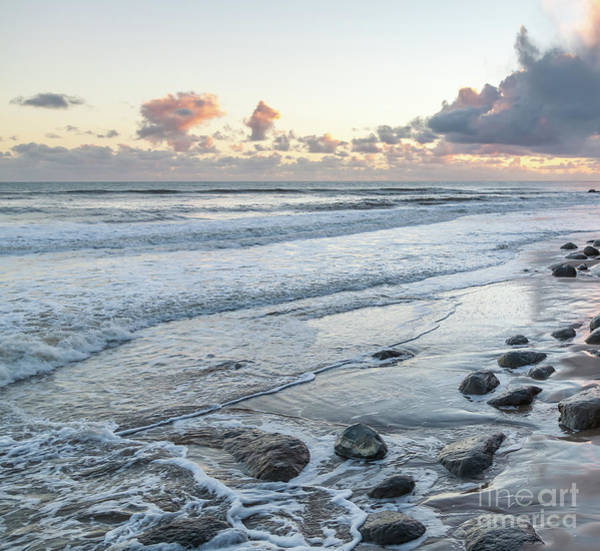 Rocks On The Beach During Sunset Art Print