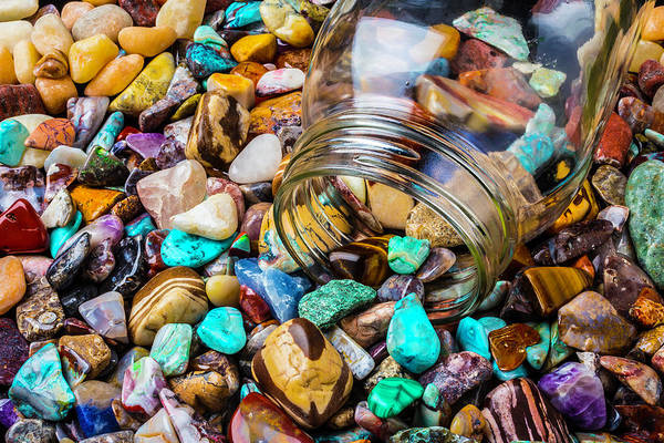 Hard Rock Photograph - Rocks Pouring Out Of Glass Jar by Garry Gay