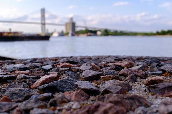 Rocks River And A Bridge In Savannah Georgia Art Print