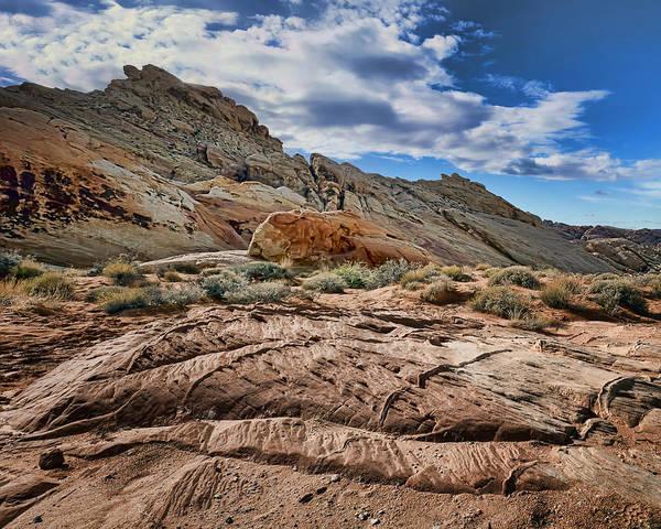 Historical Marker Photograph - Rocks - Sky - Valley Of Fire - Nevada by Nikolyn McDonald