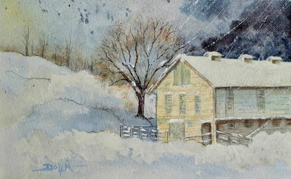 Rockville Farm In Snowstorm Art Print