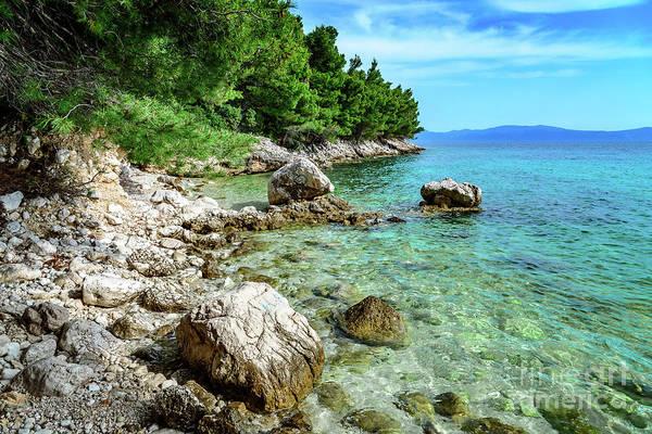 Rocky Beach On The Dalmatian Coast, Dalmatia, Croatia Art Print