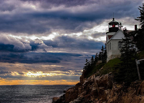 Photograph - Rocky Cliffs Below Maine Lighthouse by Jeff Folger