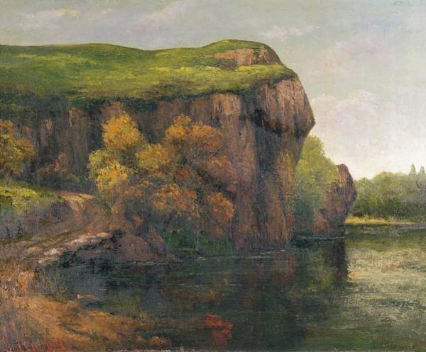 Pool Painting - Rocky Cliffs by Gustave Courbet