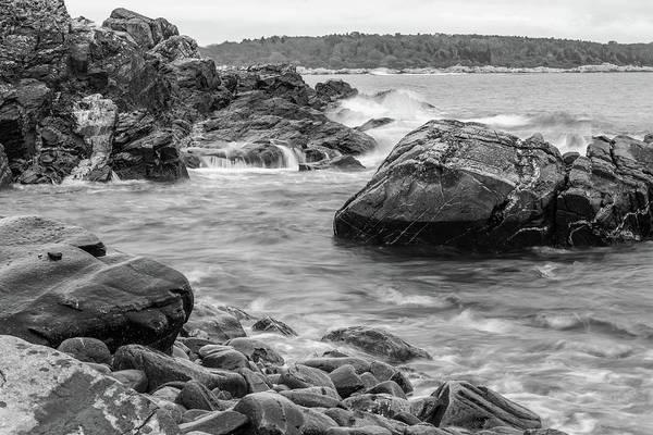 Photograph - Rocky Coast Of Maine In Bw by Doug Camara