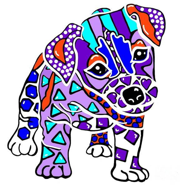 Sealyham Terrier Painting - Rocky Dog Puppy Jack Russell Parson Fun Colorful Border Lakeland Kerry Blue Irish Norfolk Terrier   by Jackie Carpenter