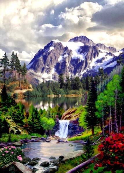 Follow Me Painting - Rocky Mountain Cascade by Ron Chambers
