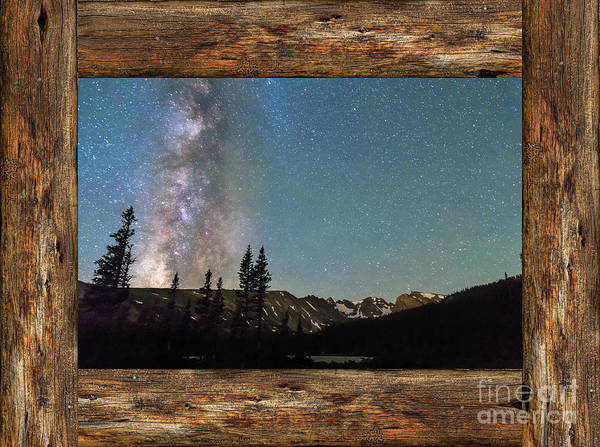 Photograph - Rocky Mountain Milky Way Rustic Wood Window View by James BO Insogna
