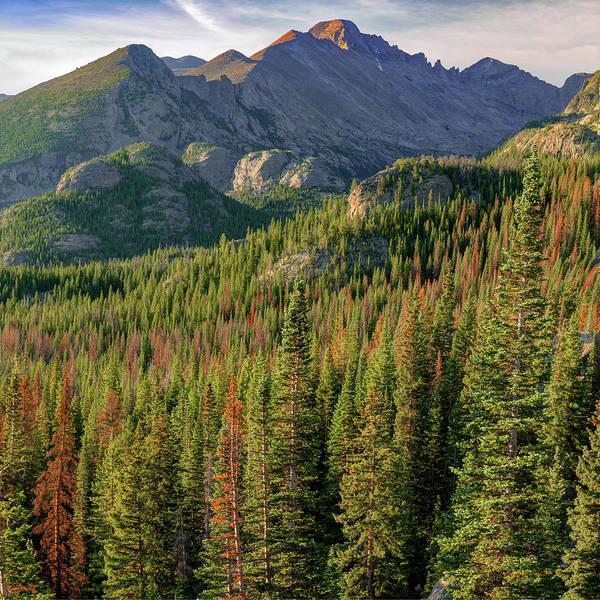 Photograph - Rocky Mountain National Park Peak Sunrise - Estes Park Colorado - Square Format by Gregory Ballos