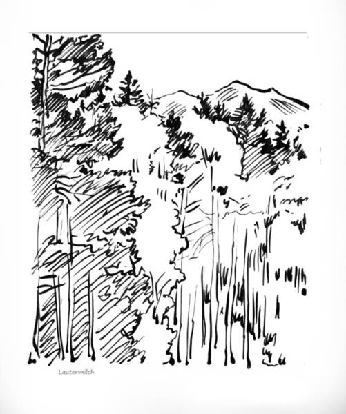 Wall Art - Drawing - Rocky Mountain Sketch by John Lautermilch