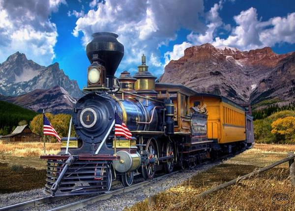 Railroad Station Painting - Rocky Mountain Train by Ron Chambers