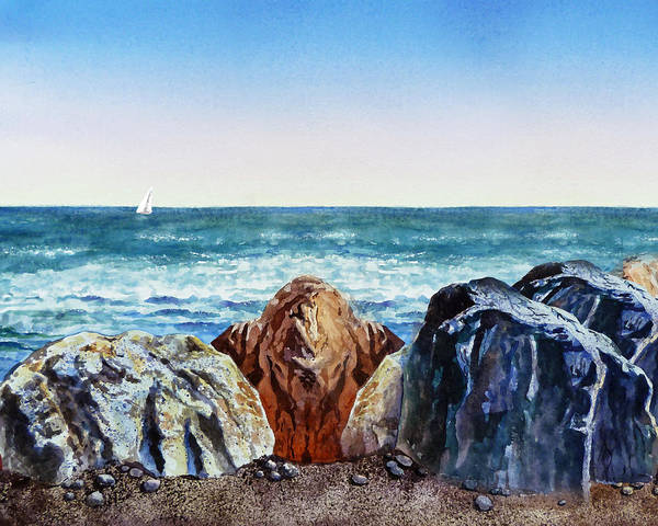 Wall Art - Painting - Rocky Shore  by Irina Sztukowski