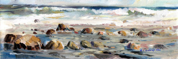 Wave Breaking Painting - Rocky Seashore by P Anthony Visco
