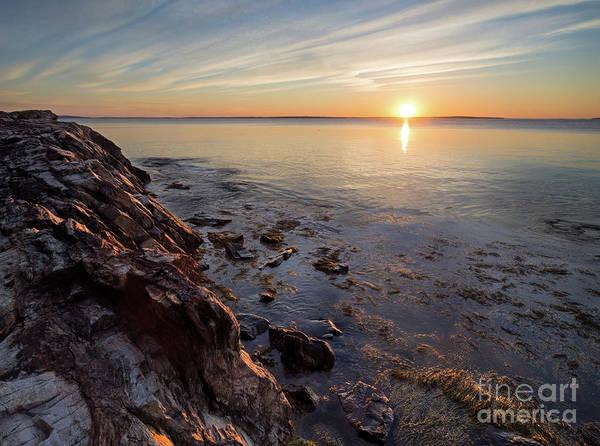Photograph - Rocky Shore Sunrise, Camden, Maine  -43873-43875 by John Bald