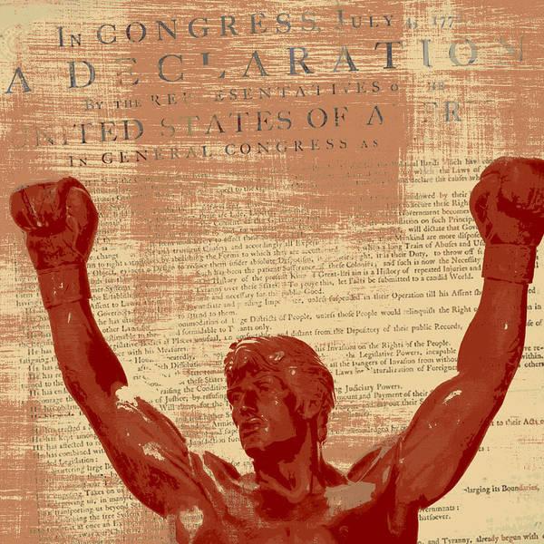 Declaration Of Independence Digital Art - Rocky Statue Declaration Of Independence by Brandi Fitzgerald