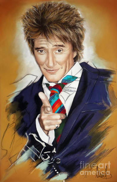 Wall Art - Pastel - Rod Stewart by Melanie D