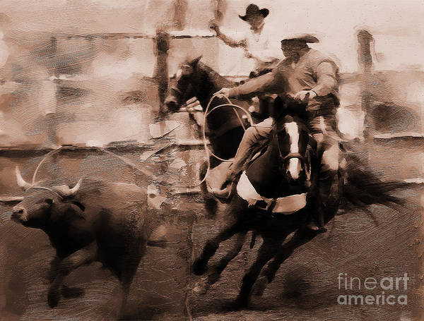 Roping Painting - Rodeo 000673 by Gull G