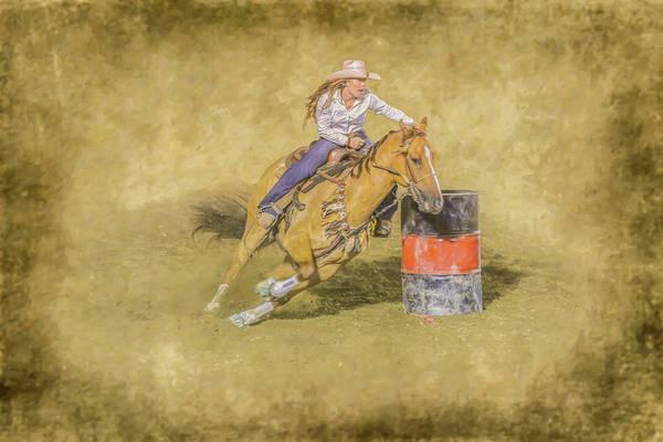 Bucking Bronco Digital Art - Rodeo Barrel Racing by Randy Steele
