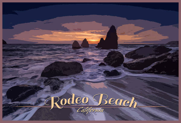 Feathery Photograph - Rodeo Beach Vintage Tourism Poster by Rick Berk