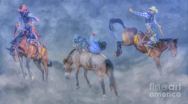 Bucking Bronco Digital Art - Rodeo Bronco Busting Times Three by Randy Steele