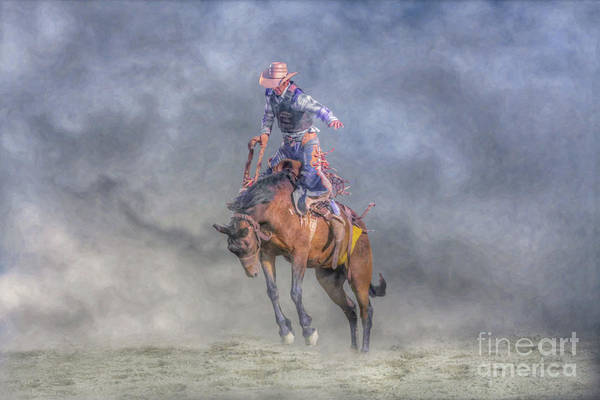 Bucking Bronco Digital Art - Rodeo Bronco Busting Two by Randy Steele